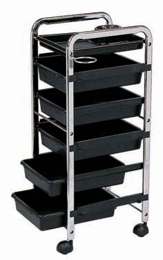 Salon Trolley-The New Shakalaka-Stronger and Sturdier-Black Trays made of ABS Plastic/Chrome Frame Trolley-6 Tier on wheels(TBD5006/HZ936-B)