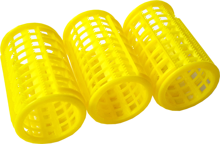 Plastic Hair Rollers - Large Yellow Length 70mm x Dia 40mm (Pack of 8)