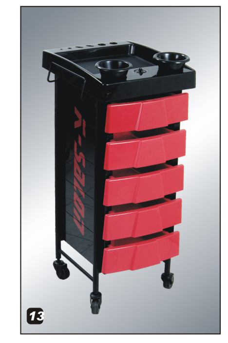 Salon Trolley with Built in Timer-Superior Quality Black/Red (K Salon)