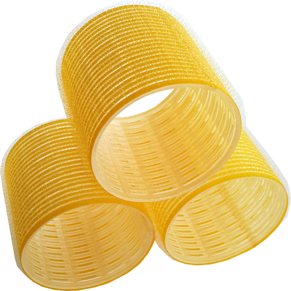 Velcro Hair Rollers 12 per pack-Yellow-Large-60mm Length x 64mm Dia