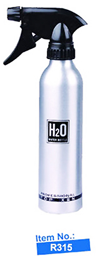 Salon Water Sprayer-Aluminium-Cylindrical Boston Bottle with heavy duty ratchet sprayer-H2O print-R315