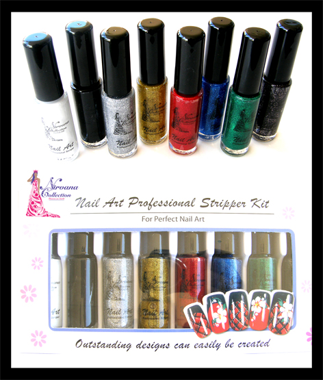 Nirvana Collection Nail Art Striper Pens Kit B-Includes the Following colours: White, Black, Glitter silver, Glitter Gold, Glitter Red, Glitter Blue, Glitter Green and Glitter Dark Purple
