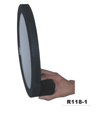 Round Salon Mirror in Foam Cushion with Posterior Handle