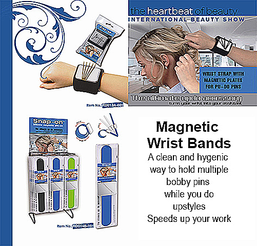Magnetic Wrist Band -an ideal utility item for stylists to hold clips and bobby pins etc