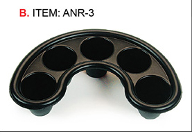 ANR-3- Crescent 5 Hole Nail Soaker Tray-Black