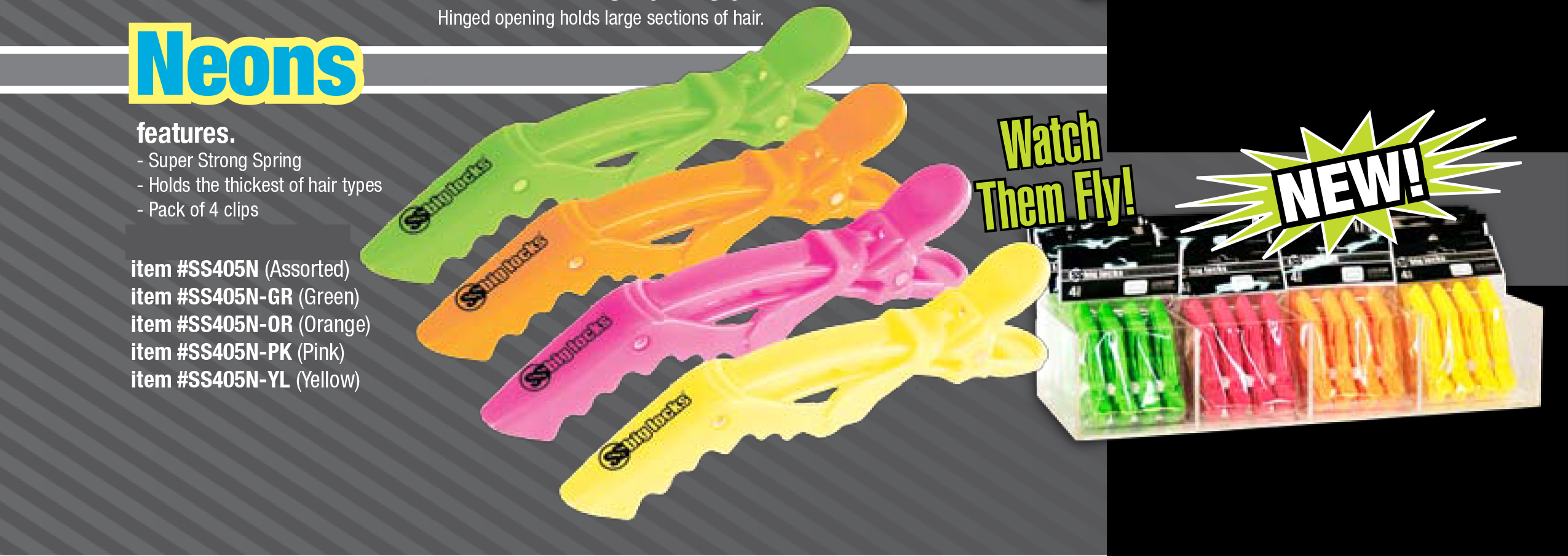 SS405-N-PK--SS Big Locks Crocodile Clips-Neon Colours-4 Per Pack-Neon Pink