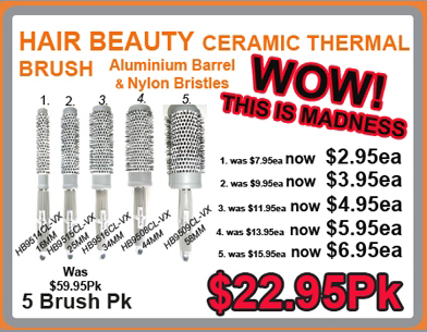 Hair & Beauty Ceramic Thermal Brush Collection- 5 brushes/pk