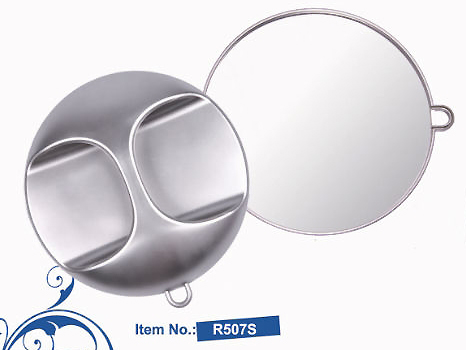 R507S-UFO Professional Tools-Large Round Mirror with Handle in Silver