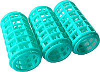 Plastic Hair Rollers-Medium-Green-Length 70mm x Dia 40mm (Pack of 8)