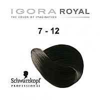 SCHWARZKOPF PROFESSIONAL IGORA ROYAL HAIR COLOR 7-12 MEDIUM BLONDE CENDRE ASH 60g