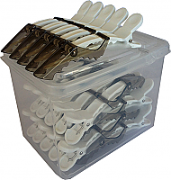 Alligator Jaw Clips-25 Clips in a Resealable Clear Plastic Box-Translucent Charcoal Grey