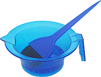 Set-Blue Transparent Tint Bowl with Rubber Grip Base plus Large Tint Brush Solid Blue Colour