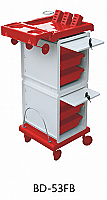 Salon Trolley-UFORIA-Red/White Clasique 2 lockable Compartment-6 Tray Tolley with Dryer and Iron Holders-BD53-FB