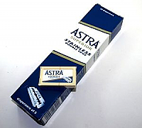 Astra Superior Quality Stainless Steel Double Edged Razor - 20 x Pack of 5 Blades (Box of 100 Blades)