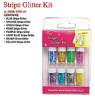STR-01-Nail Art Glitter Stripe Kit-Contains Blue, Orange, Green, Rose, Purple, Light Blue, Silver and Yellow Stripes