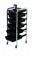 Just $79.95-Salon Trolley-The New Shakalaka-Stronger and Sturdier-Black Trays made of ABS Plastic/Chrome Frame Trolley-6 Tier on wheels(TBD5006/HZ936-B)