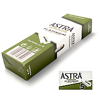Astra Superior Quality Platinum Double Edged Razor-20 x Pack of 5 Blades (Box of 100 Blades)