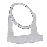 "1800-See & Store Magnifying Mirror with Built in Cosmetic Organiser-Dia 5.25""-10X Magnification"