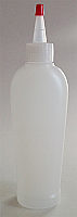 Pack of 12 x NATURAL PLASTIC BOTTLE, 200 ML HDPE REVERSE TAPERED OVAL WITH A 24/410 FINISH, FOOTED with Red Tipped Yorker Dispensing Cap