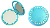 Diamante Studded Purse Mirror-Aqua Blue