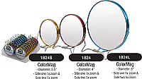 "1824L-Color Mag Shaving Mirrors with 5X Magnification-Dia 6""-Assorted Colours"