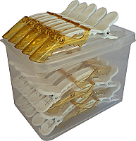 Alligator Jaw Clips-25 Clips in a Resealable Clear Plastic Box-Translucent Gold/Honey
