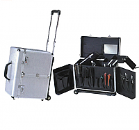 Beauty or Hairdressers Case in Aluminium with wheels and handle K020