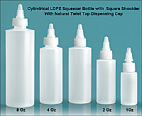 Pack of 36 x 1 Oz (~29.6ml) Cylindrical LDPE Squeezer Bottle with Square Shoulder With Natural Twist Top Dispensing Cap