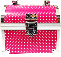 Hot Pink Polkerdot Mini Aluminium Jewellery Chest 15.5cmx14cmx11cm