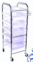 Beauty Trolley-Strong and Sturdy-White Trays made of ABS Plastic/Chrome Frame Trolley-6 Tier on wheels (HZ936-W)