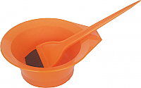 Set-Orange Plastic Tint Bowl plus Large Tint Brush Solid Orange Colour