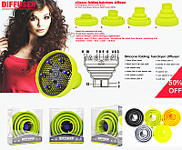 Silicone Folding Hairdryer Diffuser Universal Fit Fluoro Green