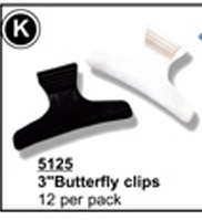"3"" Butterfly Clips (Black & White)-12 per pack"
