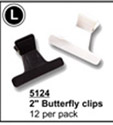 "2"" Butterfly Clips (Black & White)-12 per pack"