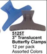 "3"" Translucent Butterfly Clips (Asstd Colours)-12 per pack"