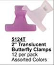 "2"" Translucent Butterfly Clips (Asstd Colours)-12 per pack"