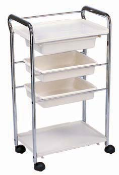MJM-200 White/Chrome Frame 2 trays and 2 work flat benches (Please note the picture shows 3 trays but actual trolley has only 2 trays)