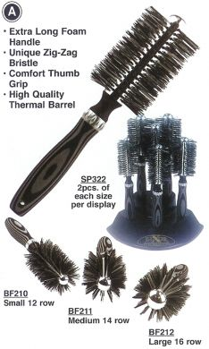 BF212 Luxor Zig-Zag Bristle Thermal Brush-Large 16 Row