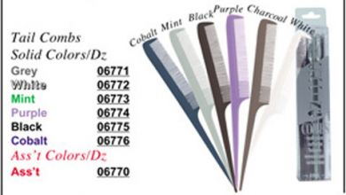Luxor Tail Comb in Solid Colours 6770