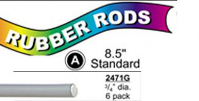 "2471G Standard Flex Rods 3/4"" Diam x 8.5"" long- Grey-6/pk"