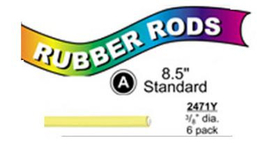 "2471Y Standard Flex Rods 3/8"" Diam x 8.5"" long- Yellow-6/pk"