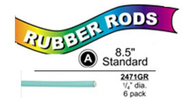"""2471GR Standard Flex Rods 1/4"""" Diam x 8.5"""" long- Green-6/pk"""