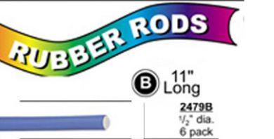 "2479B X-Long Flex Rods 1/2"" Diam x11"" long- Blue-6/pk"