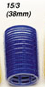 "15/3 ""Very Good"" Velcro Rollers-38mm Dia-Blue Colour-12pcs per bag"