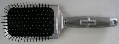 HB2086CL-VX Hair & Beauty Brand Silver Paddle Brush-Large Rectangular Paddle with Rubber Cushion-13 Rows and Nylon Pins