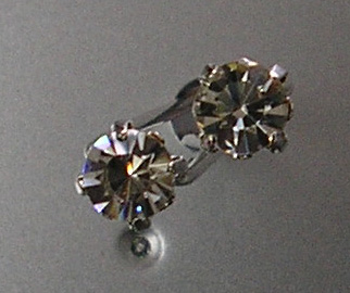 HJ2-Hair Jewellery 2 Pronged Pins with large single diamante-Silver