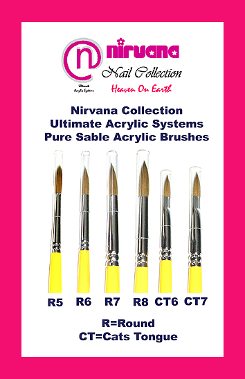 """Nirvana Collection"" The Ultimate Acrylic Systems-Cats Tongue Acrylic Pure Sable Brush-size 6"