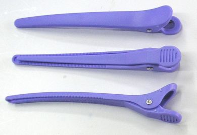 Long Duckbill Clips-Plastic Base/Plastic Top (12/pack)-Purple