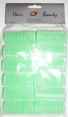 1207 Hair & Beauty Velcro Hair Rollers 12/pk-Green 25mm- Dia