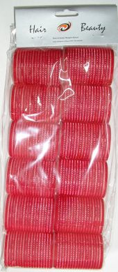 1203 Hair & Beauty Velcro Hair Rollers 12/pk-Red 44mm- Dia
